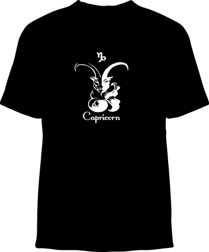 Skelebone Short Sleeve T-shirt, Capricorn Dec 22 - Jan 19 Front