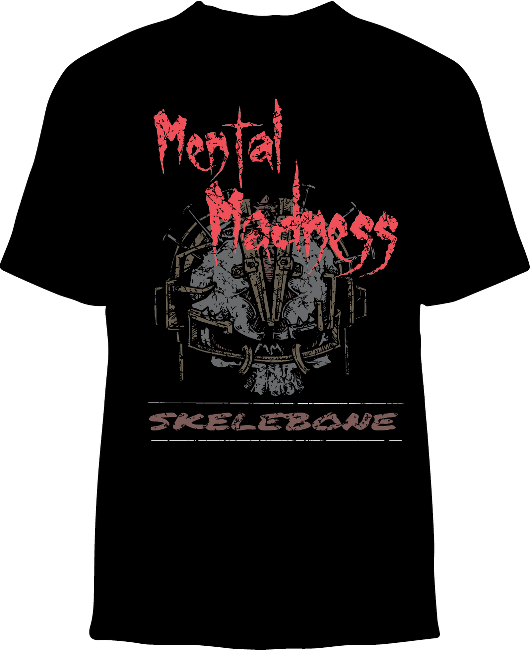Skelebone Short Sleeve T-shirt, Mental Madness Back Print, Logo Front Print