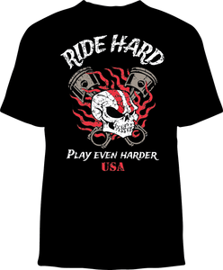 Skelebone Short Sleeve T-shirt Ride Hard Back Print Front Logo Print