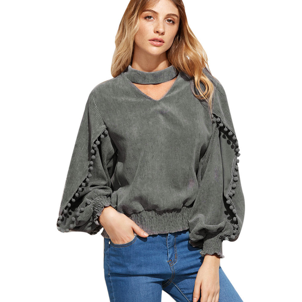 Womens Blouse Hanging Neck Long sleeve Sexy V-Neck Shirt Top Casual Gray