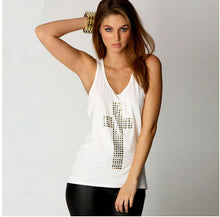 Womens Rhinestones Cross Hot Drill Racerback Low o-neck Slim Tank Top