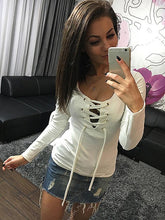 Bottoming Shirt Spring Long Sleeve Lace Up Top Ladies Casual Shirts Fashion Slim Bandage Shirt