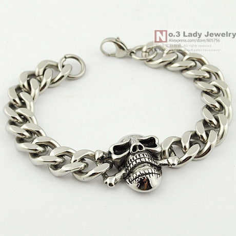 Stainless Steel MENS Skull Bracelet Chain