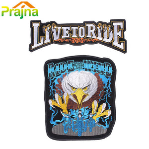 2PCS Skull Letter Patch Biker Iron On Embroidered Large Motorcycle Patches For Clothes Big Back Patch
