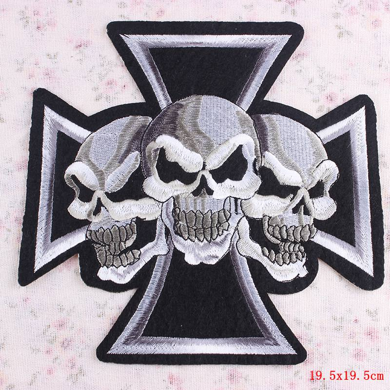 Military Skull Iron On Outlaw Biker Patch Large Embroidered Patche Jacket Back