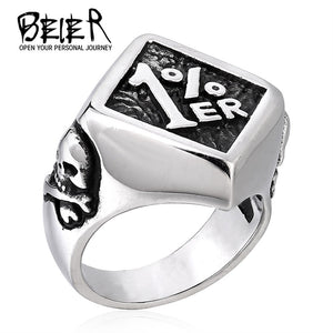 Stainless Steel Fashion Men's Biker One Pencenter 1% Ring For Man Motorcycle Ring Jewelry BR8-243