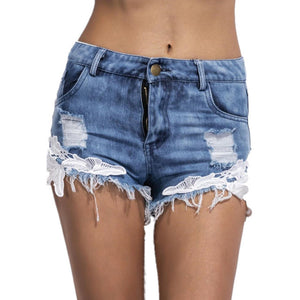 Ripped High Waist Women Casual Shorts Sexy Lace Stitching Blue Denim Shorts Vintage Jeans