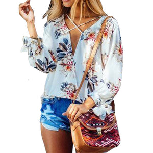 Womens Summer Floral Front Crossed Deep V Neck Long Sleeve Loose