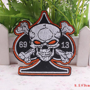 Skull Iron On Embroidered Patches