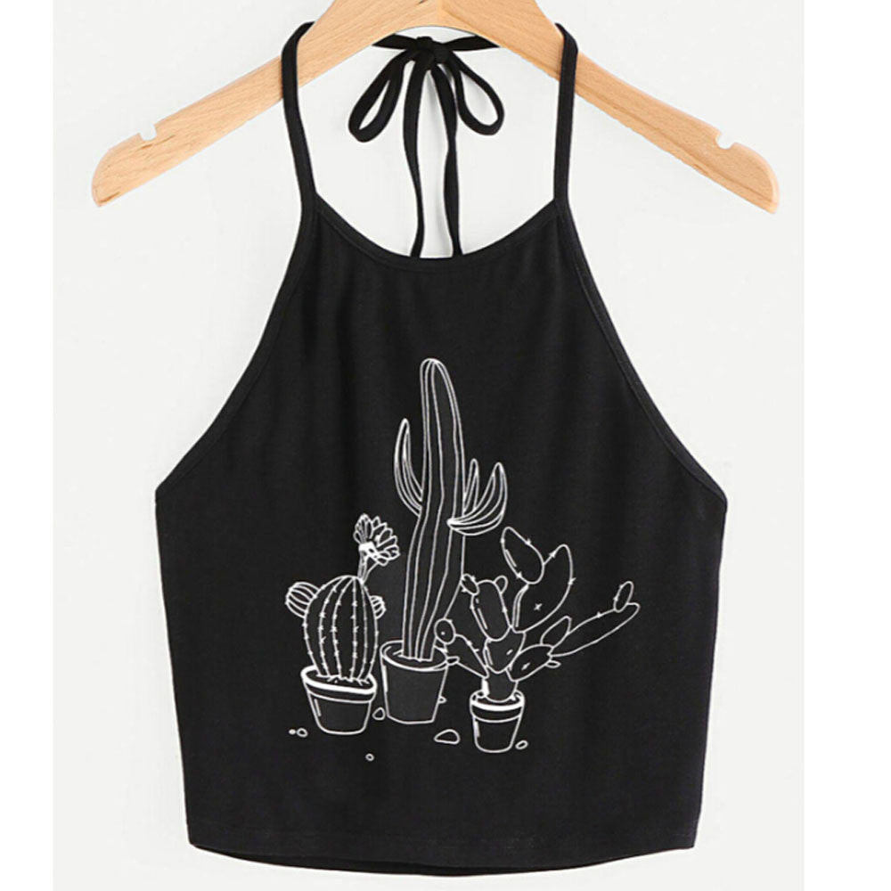 Bustier Crop Tops Women Funny Printed Vest Top Casual Sleeveless Tank Top