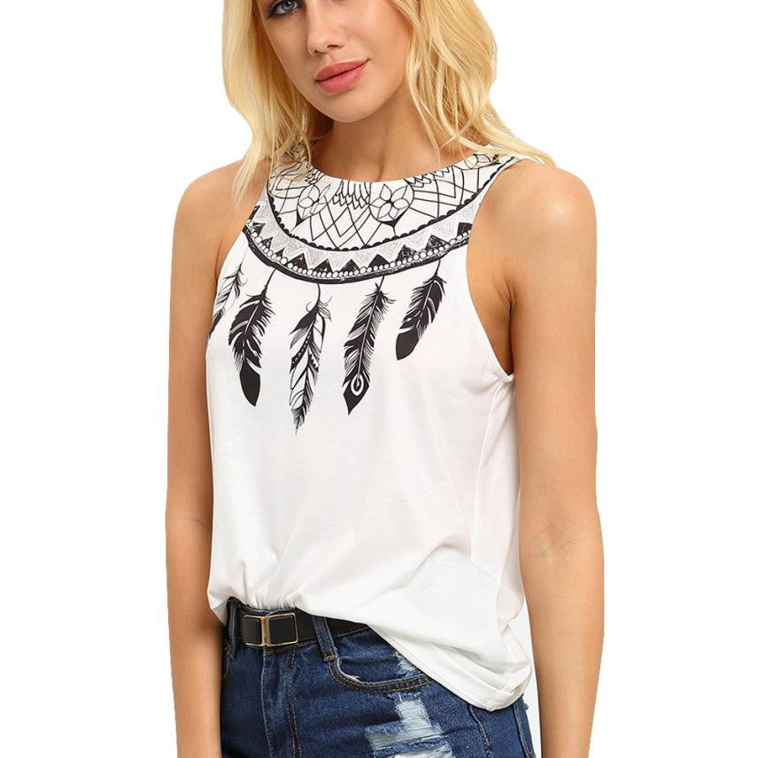 Sleeveless Feather Printed Shirts Round neck Top female