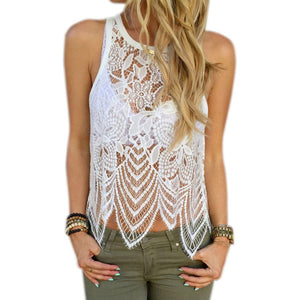 Women Tops Elegant Fittness Flower Embroidery Lace Vest Fashion Summer Sleeveless Shirt Clothing #YNQ