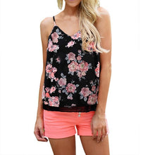 Womens Sleeveless Flower Printing V-Neck Shirt Casual Top