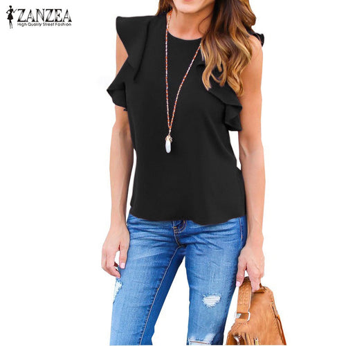 Womens Blouse O Neck Sleeveless Ruffles Shirts Casual
