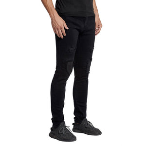 Men Skinny Tapered Knee Leather Biker Jeans Fashion Casual Stretch Jeans E5022