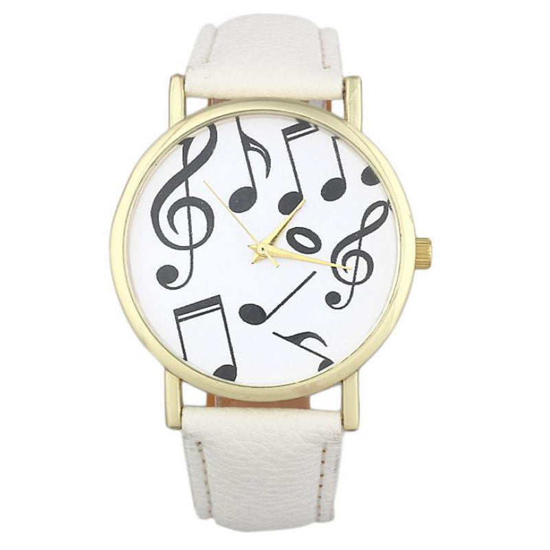 women fashion luxury watch musical notes leather watch strap