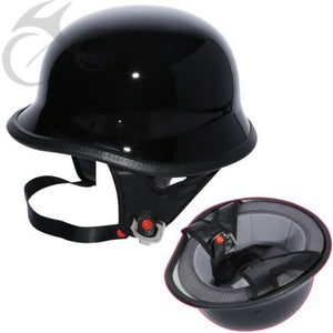 Gloss Black DOT German Street Half Helmet Chopper Biker M L XL motocycle