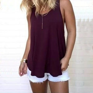 Womens Tops Sleeveless O Neck Tank Tops Ladies Casual Loose Back Hollow Out Summer Top Tees Vests