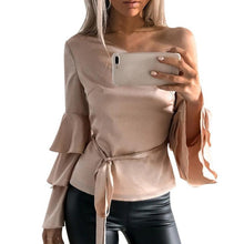 Sexy One Cold Shoulder Butterfly Sleeve Women Off Shoulder Long Sleeve Shirt Loose Top