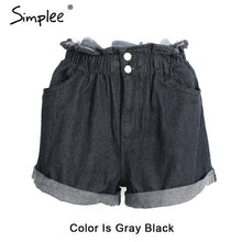 Casual black hemming denim shorts women Button high waist shorts Pocket blue jeans shorts female