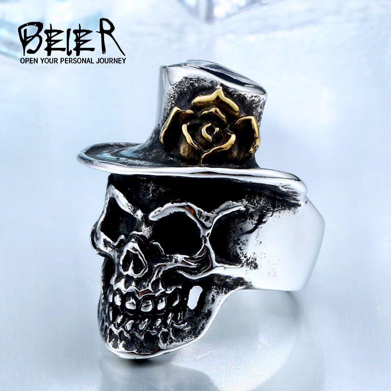 Stainless Steel Man`s Skull With Gold Rose Flower Hat Ring BR8-418