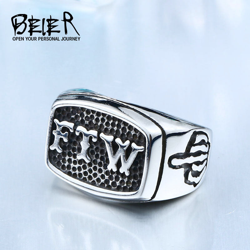 FTW Mechanical Screw Mens Stainless Steel Ring BR8-420
