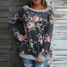 Print Printed Womens Casual Floral Splicing O-Neck Shirt Blouse Sweatshirt Long Sleeve Tops