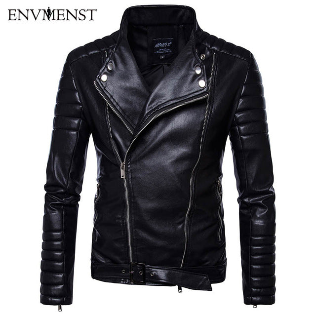 Leisure Stand Collar Motorcycle Jacket PU Male Striped Shoulder Sleeves Faux Leather Jacket