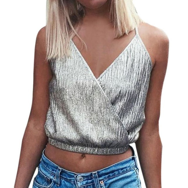 Women Tanks Top Summer Clothing Deep V Sexy Crop Top Spaghetti Strap Shirt Vest Blouses
