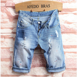 Men Denim Biker Jean Shorts Jeans Ripped Distressed Rip Acid Washed Blue Street Beach Men Jeans