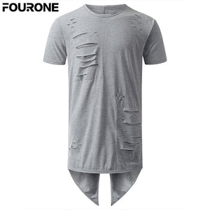 Men Pullover Back Long Irregular T-Shirt Solid color Loose O Neck T shirt Top Tee