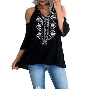 Fashion Chiffon Autumn Blouse Cold Shoulder Women Shirt Tassel Lace Up Blouses Geometry Printed Three Quarter Loose Tops Shirt