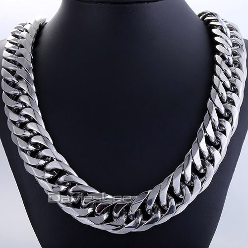 18mm Mens Chain Boy Biker Heavy Silver Tone Cut Double Curb Link Rombo 316L Stainless Steel Necklace Jewelry DLHN54 (Up to 36