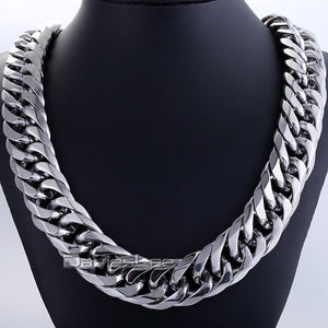 "18mm Mens Chain Boy Biker Heavy Silver Tone Cut Double Curb Link Rombo 316L Stainless Steel Necklace Jewelry DLHN54 (Up to 36"")"