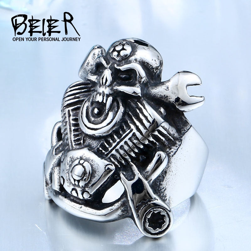 BEIER 316L Hot Sell 316LStainless Steel Winged Motorcycle Skull Biker Cool Punk Ring Unique Jewelry for man free shippingBR8-410