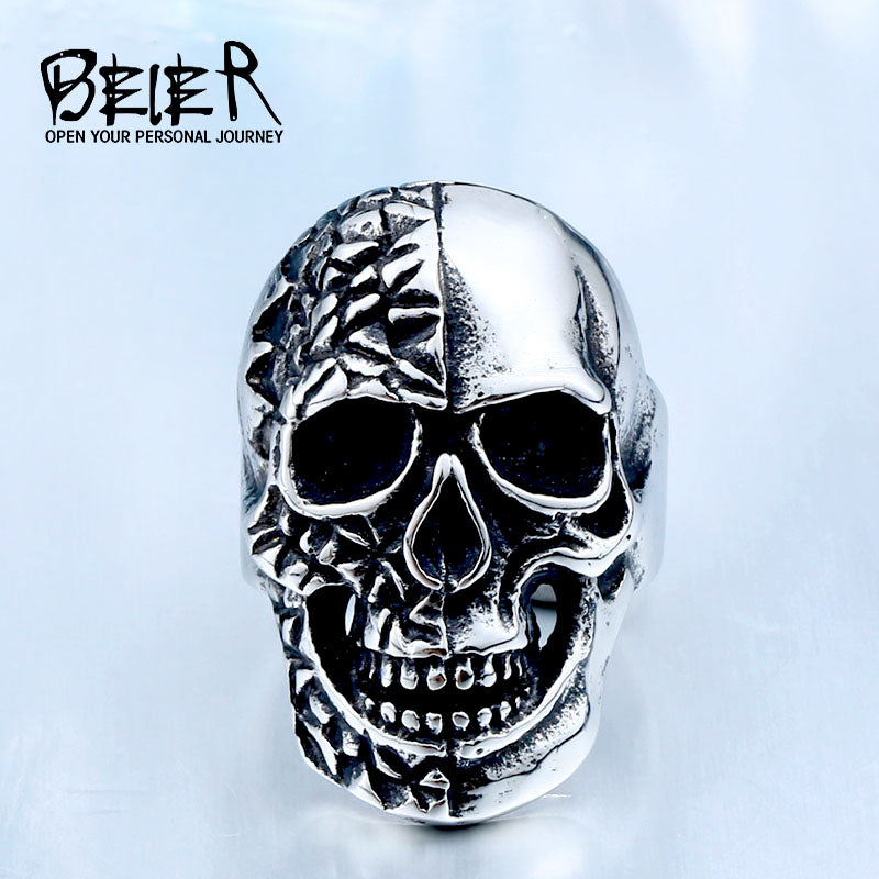 BEIER 316L Hot Sell 316LStainless Steel Winged Big Skull Biker Cool Punk Ring Unique Jewelry for man BR8-409
