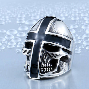 BEIER Brand Design Cool Cross Skull Ring For Man Stainless Steel Personality Biker Punk Man's Jewelry  BR8-361