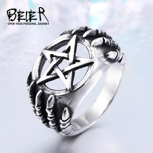 BEIER stainless  Steel Gothic Five Star CLaw Biker Ring Man Cheap Exclusive Sale Item WHOLESALE BR8-271 US Size