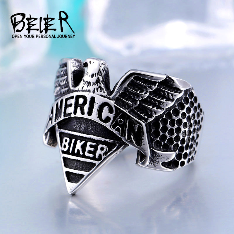 American Stainless Steel Biker Motorcycle Freedom Eagle Ring Jewelry men  BR8-206