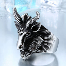 BEIER Vintage Stainless Steel Big Goat Head Ring Unique Biker Punk Animal Jewelry for man free shipping BR8-182