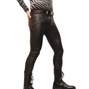 Sexy Men Latex Faux Leather Skinny Tight Pants Matte Shiny Fashion Pencil Pants Punk Hollow Legging Pants Stage Gear F115
