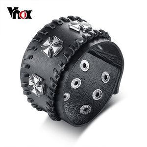 Vnox Men's Rock Biker Leather Bracelet Triple Iron Cross Wristband Adjustable Pulseira Masculina Knights Crucifix Male Jewelry