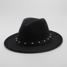 Women Men Wool Fedora Hat With Punk Rivet Ribbon Elegant Lady Dad Winter Autumn Wide Brim Jazz Church Godfather Sombrero Caps