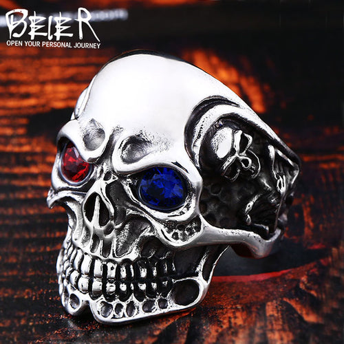 BEIER Stainless Steel men's Gothic  Carving kapala Skull Ring with red/blue eye rock personality biker Jewelry For man BR8-547