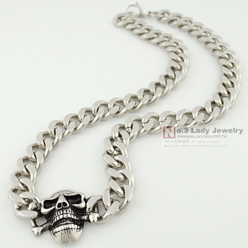 Stainless Steel Curb Cuban Chain Skull Necklace For Men WN124