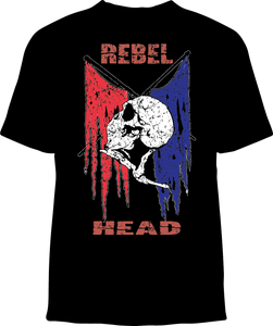 Skelebone Short Sleeve T-shirt, Rebel Head Back Print Front Logo Print