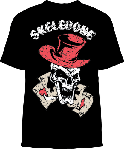 Skelebone Short Sleeve T-shirt, 4 Aces Skull