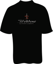 Skelebone Short Sleeve T-shirt, White Widow Cycle Shops Back Print Front logo