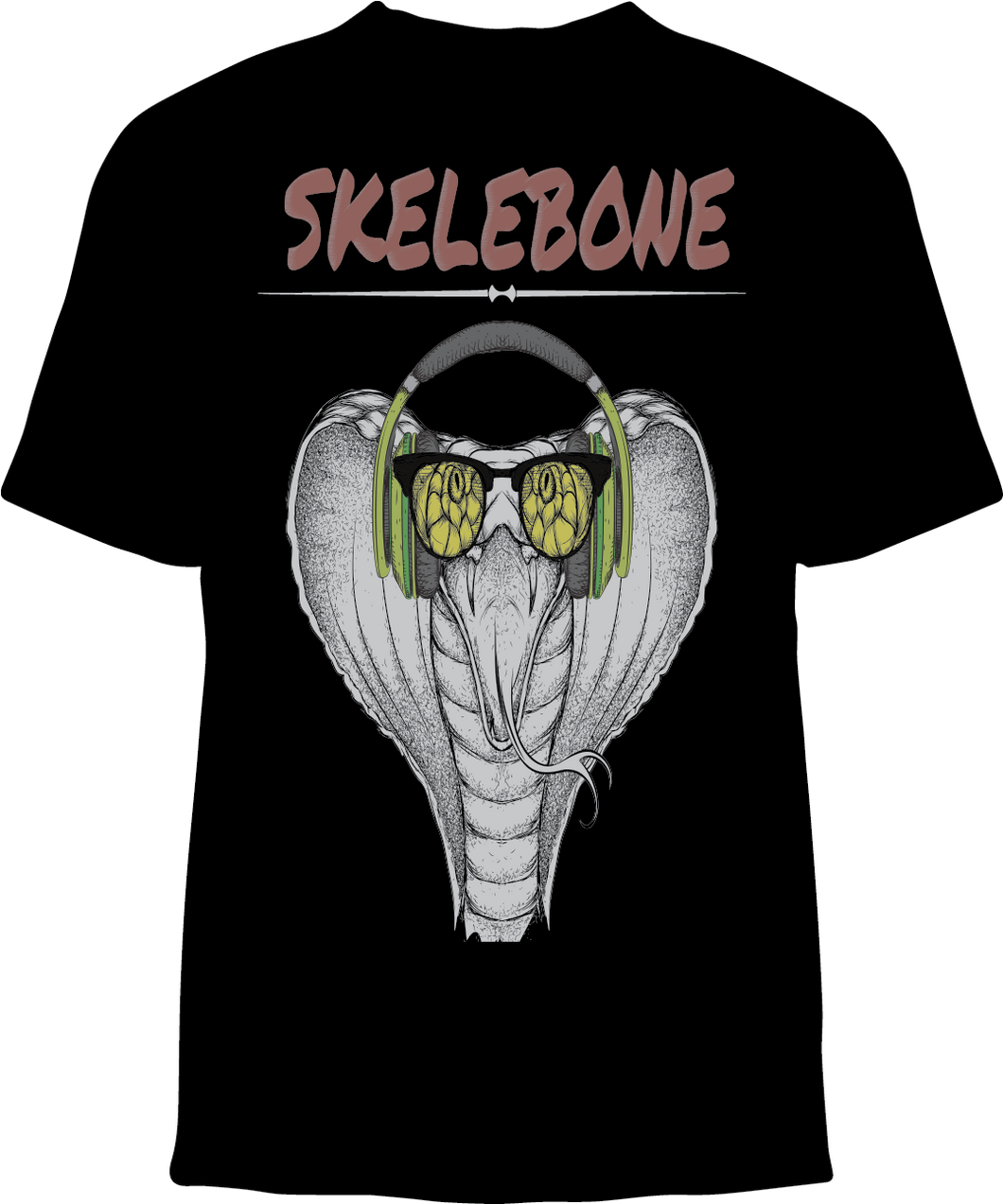 Skelebone Short Sleeve T-shirt, Cobra Headphone