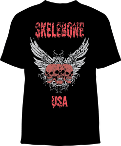 Skelebone Short Sleeve T-shirt, Skelebone USA Front Print